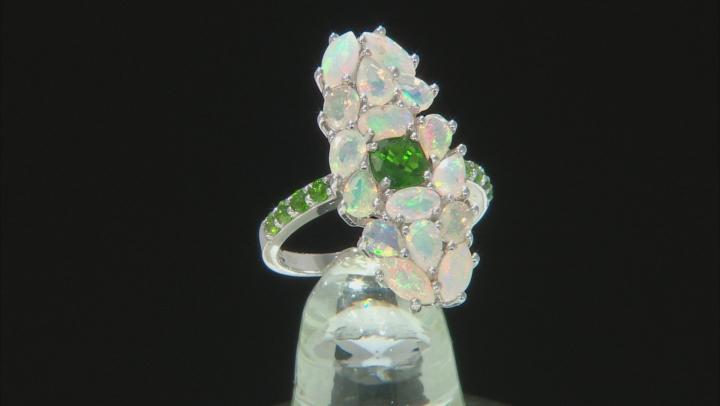 Multicolor Ethiopian Opal Rhodium Over Silver Ring 2.34ctw