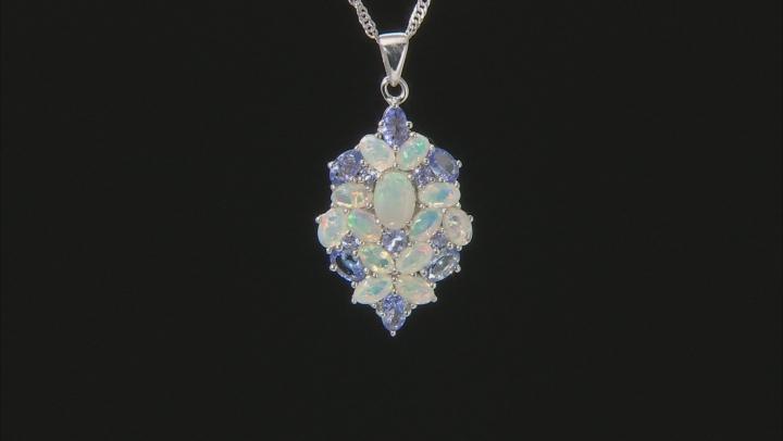 Multi-Color Ethiopian Opal Rhodium Over Silver Pendant with Chain 3.00ctw