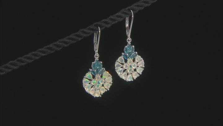 Multicolor Ethiopian Opal Rhodium Over Silver Dangle Earrings 3.19ctw