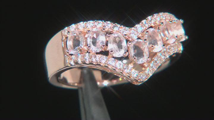 Pink Rose Quartz 18k Rose Gold Over Sterling Silver Ring 1.42ctw