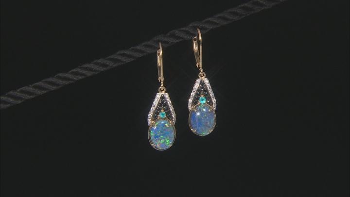 Multi-color Australian Opal Triplet 18k Yellow Gold Over Silver Dangle Earrings .28ctw