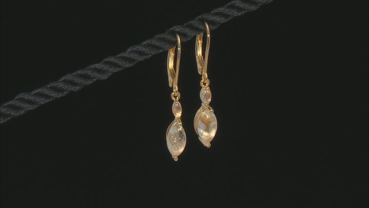 Golden Rutilated Quartz 18k Yellow Gold Over Silver Dangle Earrings