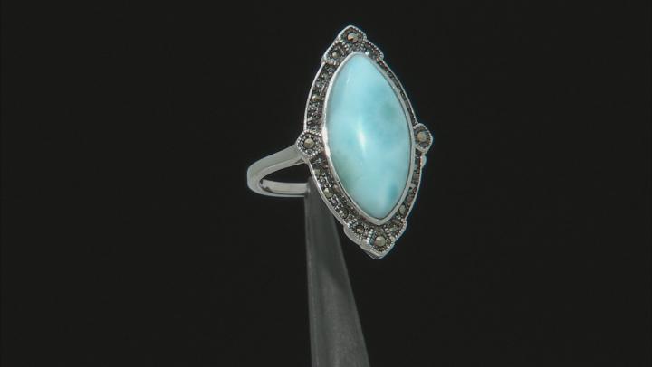 Blue Larimar Rhodium Over Sterling Silver Ring