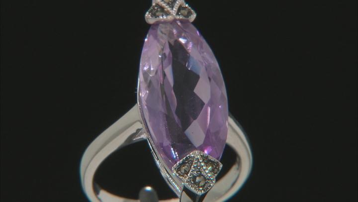 Lavender Amethyst Rhodium Over Silver Earrings 13.60ctw