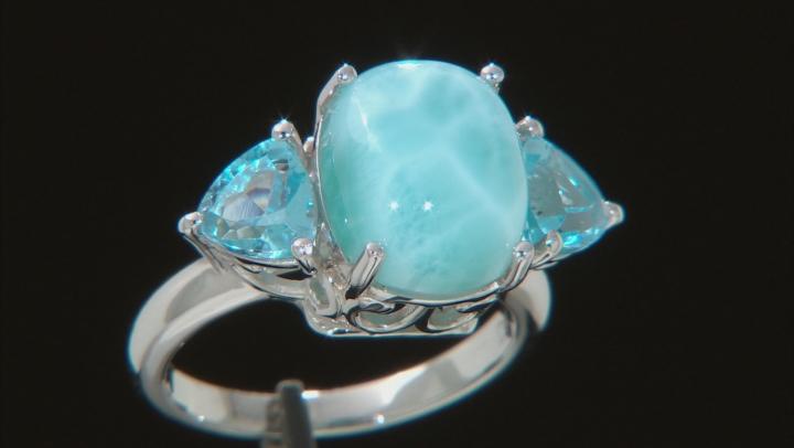 Blue Larimar Rhodium Over Silver 3-Stone Ring 1.79ctw