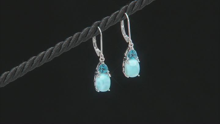 Blue Larimar Rhodium Over Sterling Silver Dangle Earrings 1.11ctw