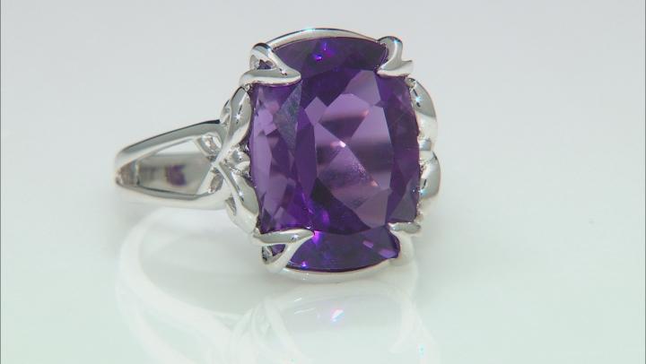 Purple Amethyst Rhodium Over Silver Ring 7.92ct