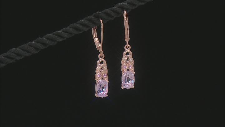 Pink Kunzite 18k Rose Gold Over Silver Earrings 1.98ctw