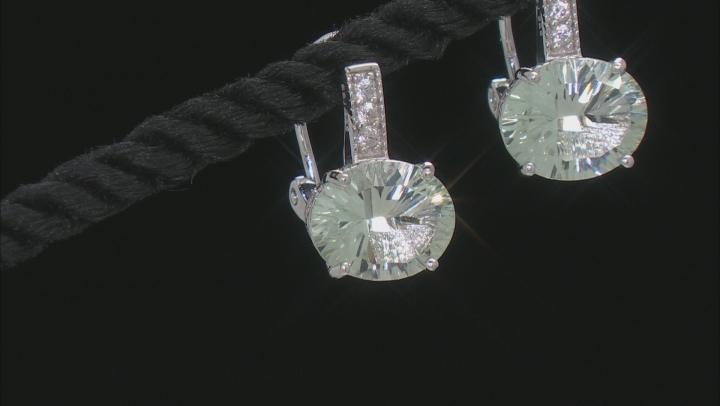 Green Prasiolite Rhodium Over Sterling Silver Earrings 4.29ctw
