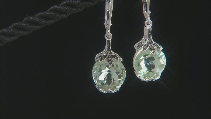 Green Prasiolite Rhodium Over Sterling Silver Earrings 6.56ctw