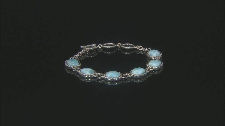 Blue Larimar Rhodium Over Sterling Silver Toggle Bracelet