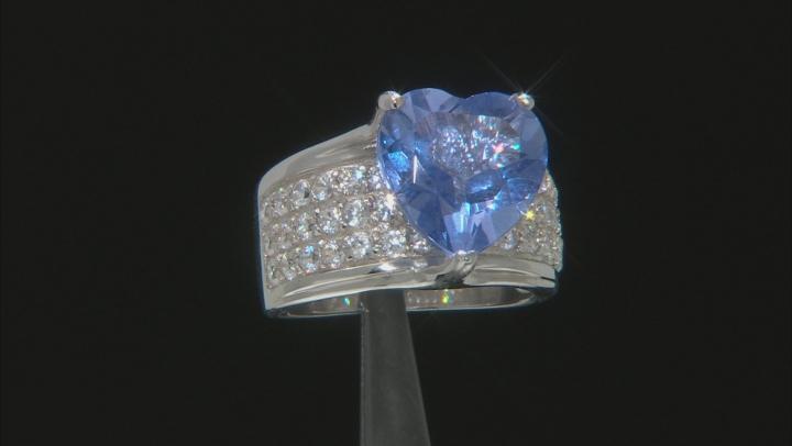 Multi-color Color Change Fluorite Rhodium Over Silver Ring 8.05ctw