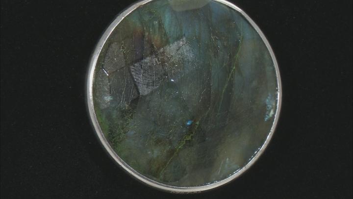 Gray Labradorite Rhodium Over Silver Reversible Pendant with Chain