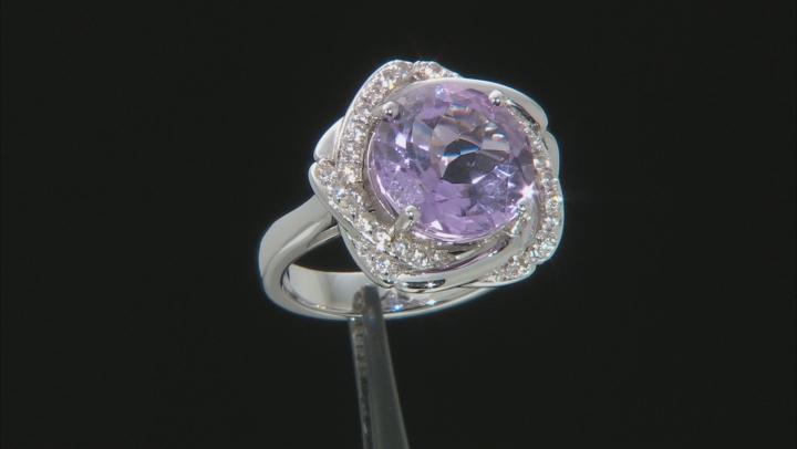 Purple Amethyst Rhodium Over Silver Ring 5.96ctw