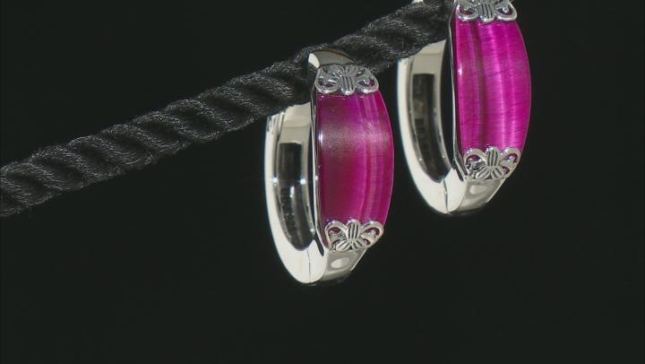 Pink Tiger's Eye Sterling Silver Hoop Earrings