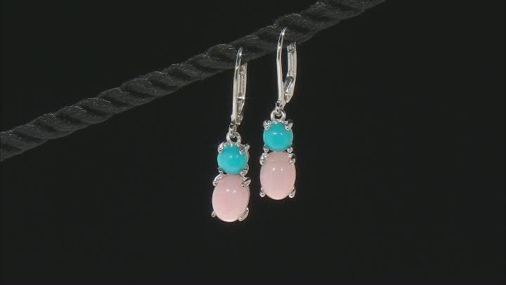 Pink Opal Rhodium Over Sterling Silver Earrings