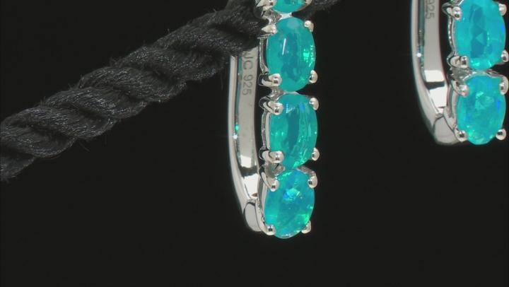 Blue Ethiopian Opal Rhodium Over Sterling Silver Earrings. 2.04ctw