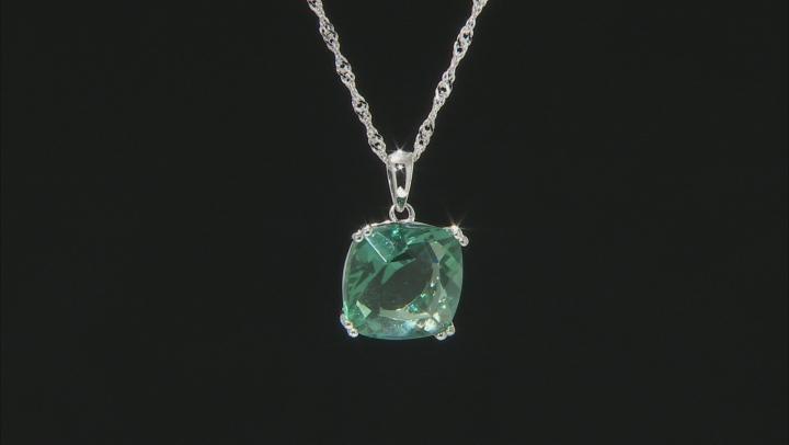 Green Fluorite Rhodium Over Silver Pendant With Chain 7.41ct