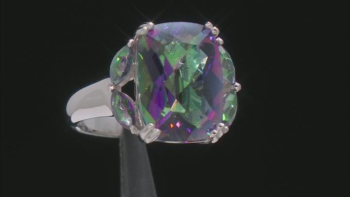 Multi-Color Quartz Rhodium Over Sterling Silver Ring 5.49ctw