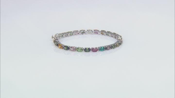 Multi-Color Tourmaline Rhodium Over Silver Bracelet 8.33ctw