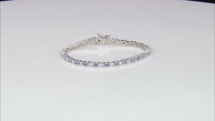 Blue Tanzanite Rhodium Over Sterling Silver Tennis Bracelet 5.21ctw