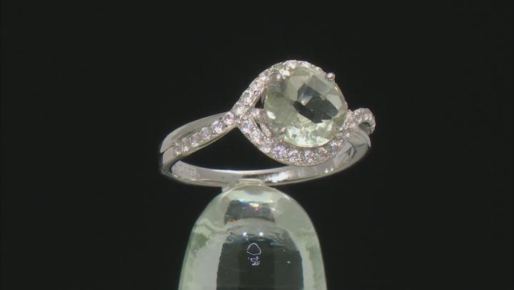 Green Prasiolite Rhodium Over Silver Ring 1.79ctw
