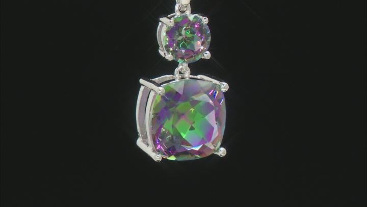 Multi-color Quartz Rhodium Over Silver 2-stone Pendant With Chain 4.06ctw
