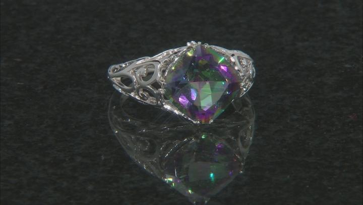 Multicolor Quartz Rhodium Over Silver Ring 3.42ctw