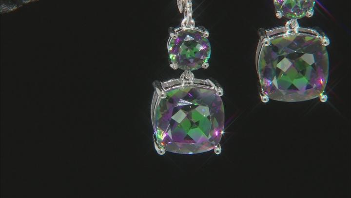 Multi-color Quartz Rhodium Over Silver Dangle Earrings 8.25ctw