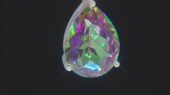 Multi-color Quartz Rhodium Over Silver Pendant With Chain 6.21ctw