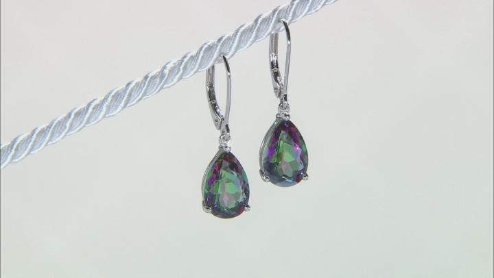 Multi-color Quartz Rhodium Over Sterling Silver Earrings 4.61ctw