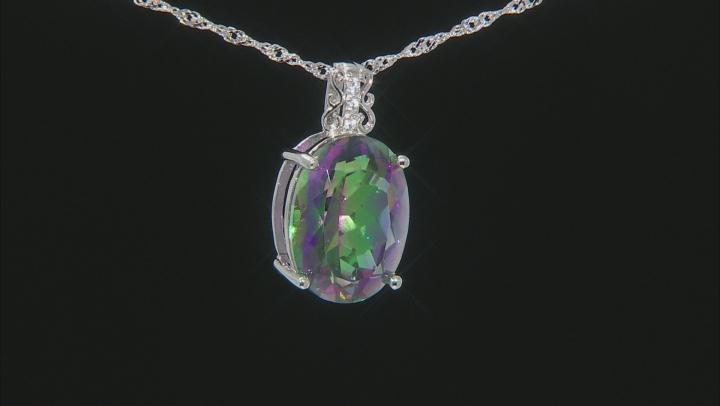 Multi-color Quartz Rhodium Over Sterling Silver Pendant With Chain 6.81ctw