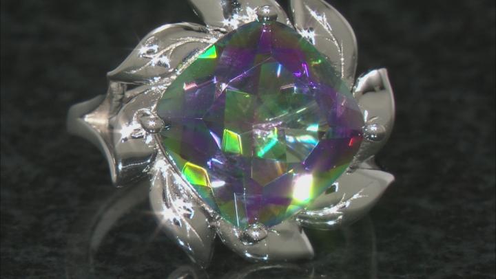 Multi-color Quartz Rhodium Over Sterling Silver Solitaire Ring 5.53ct