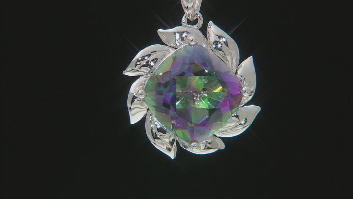 Multi-color Quartz Rhodium Over Silver Solitaire Pendant With Chain 5.53ct