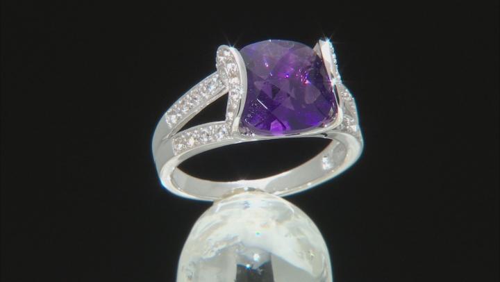Purple Amethyst Rhodium Over Silver Ring 3.95ctw