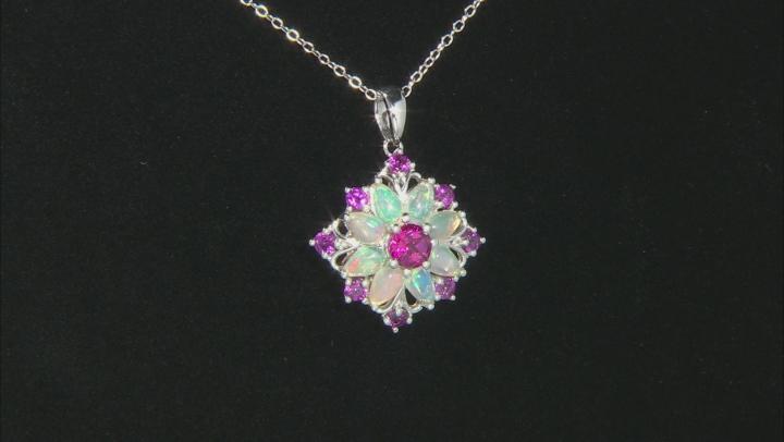 Multicolor Ethiopian Opal Rhodium Over Silver Pendant With Chain 2.02ctw