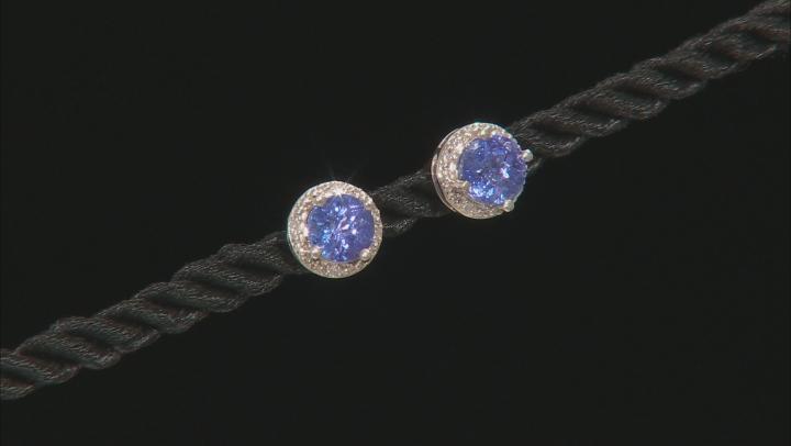 Blue tanzanite rhodium over sterling silver stud earrings 1.76ctw