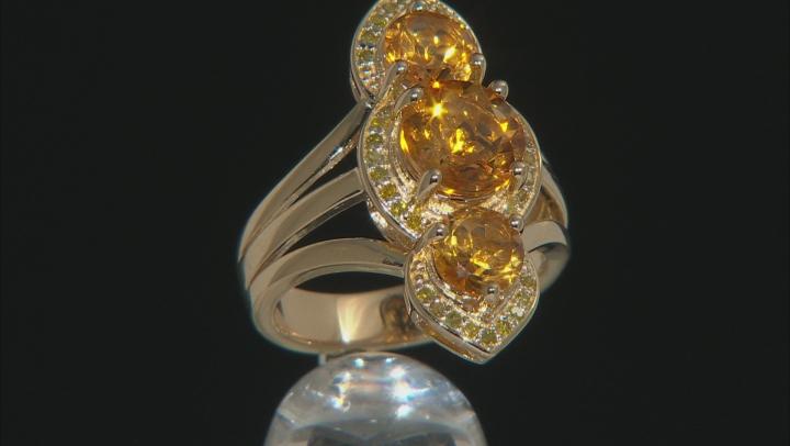 Golden Citrine 18k Gold Over Silver Ring 3.21ctw