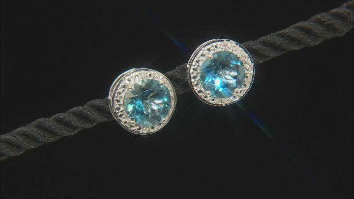 Blue Glacier topaz(TM) rhodium over silver earrings 3.53ctw