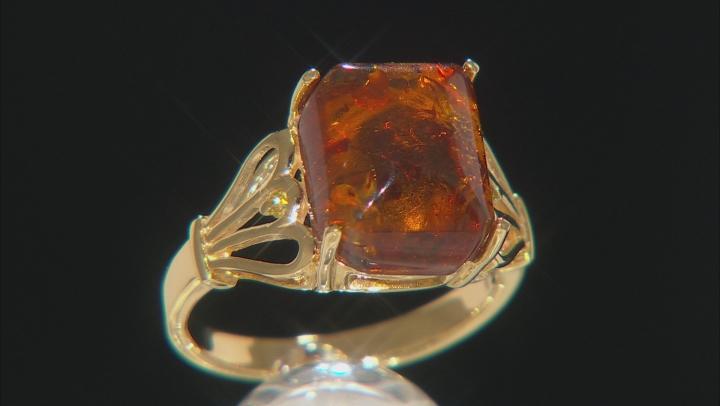 Orange Amber 18k Gold Over Silver Ring .02ctw