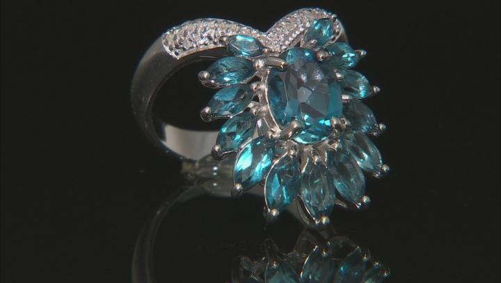 London blue topaz rhodium over silver ring 4.32ctw