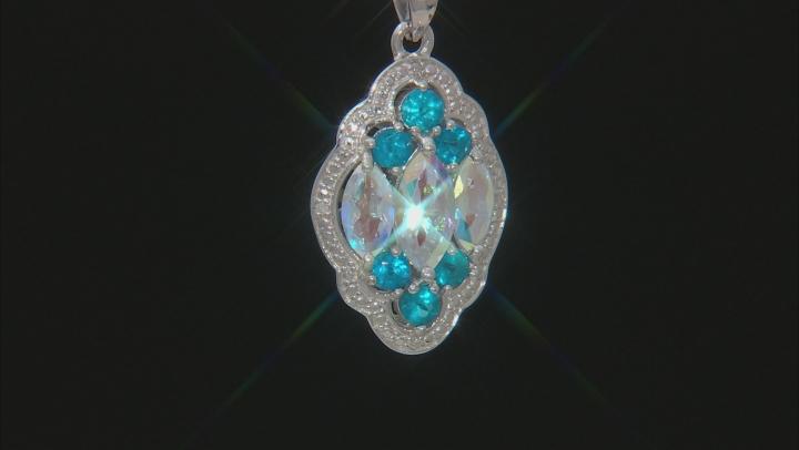 Multi-Color Mercury Mist® Topaz Rhodium Over Silver Pendant with Chain 2.79ctw