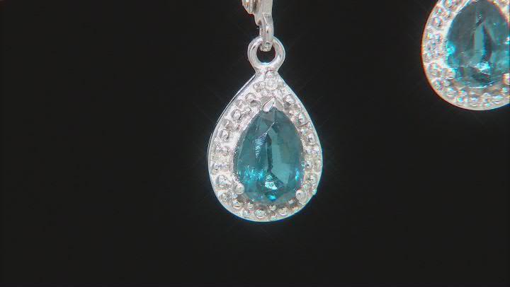 Teal Chromium Kyanite Rhodium Over Silver Earrings 1.38ctw