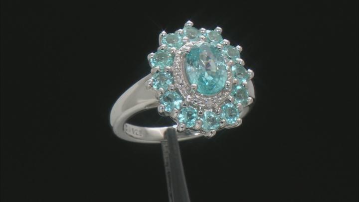 Blue Zircon Rhodium Over Sterling Silver Ring 2.93ctw