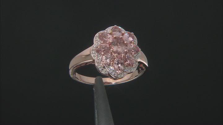 Color shift garnet 18k rose gold over silver ring 2.05ctw