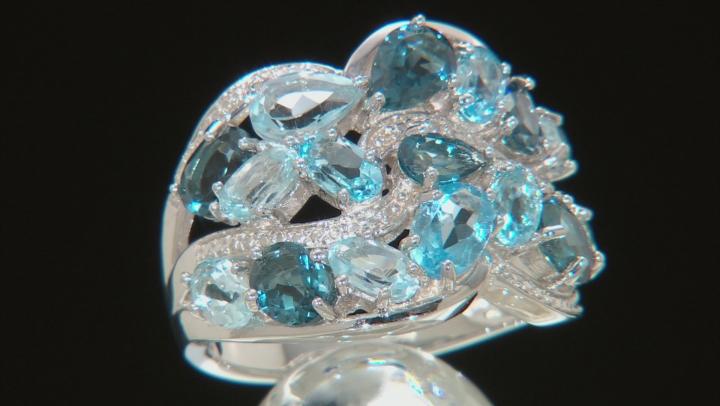 Blue Topaz Rhodium Over Silver Ring 4.77ctw