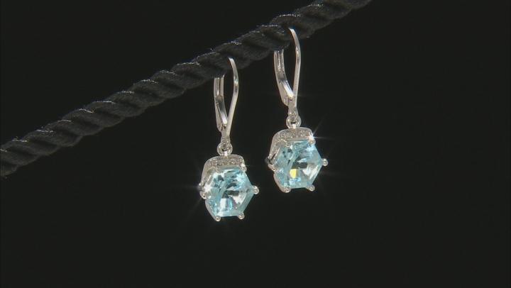 Sky blue topaz rhodium over silver earrings 5.28ctw