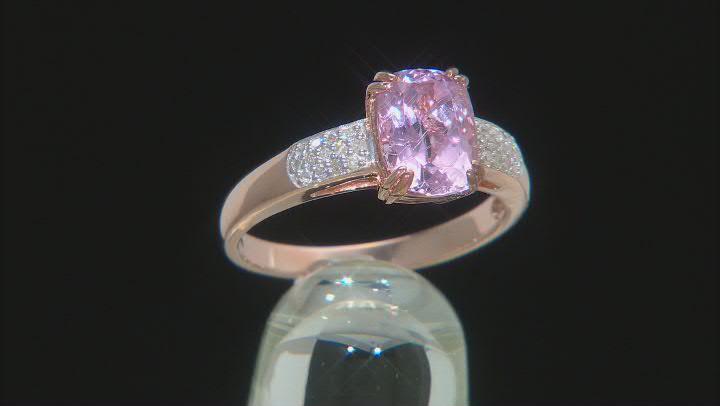 Pink kunzite 18k rose gold over silver ring 2.23ctw