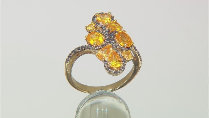 Orange spessartite 18k yellow gold over silver ring 2.11ctw
