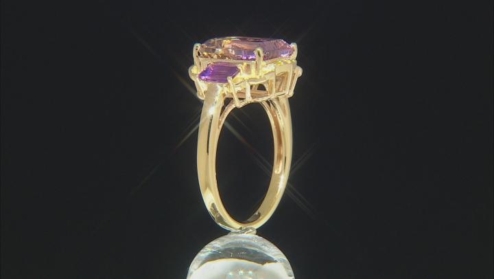 Bi-Color Ametrine 18k Gold Over Silver Ring 4.46ctw